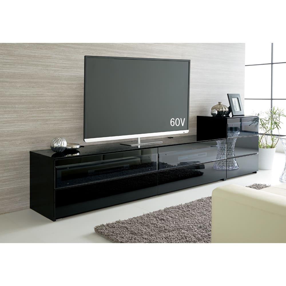 パモウナBW-120 輝く光沢のモダンリビングシリーズ テレビ台 幅120cm (イ)ブラック ※写真は(左)テレビ台・幅200cmタイプ、(右)キャビネットです。