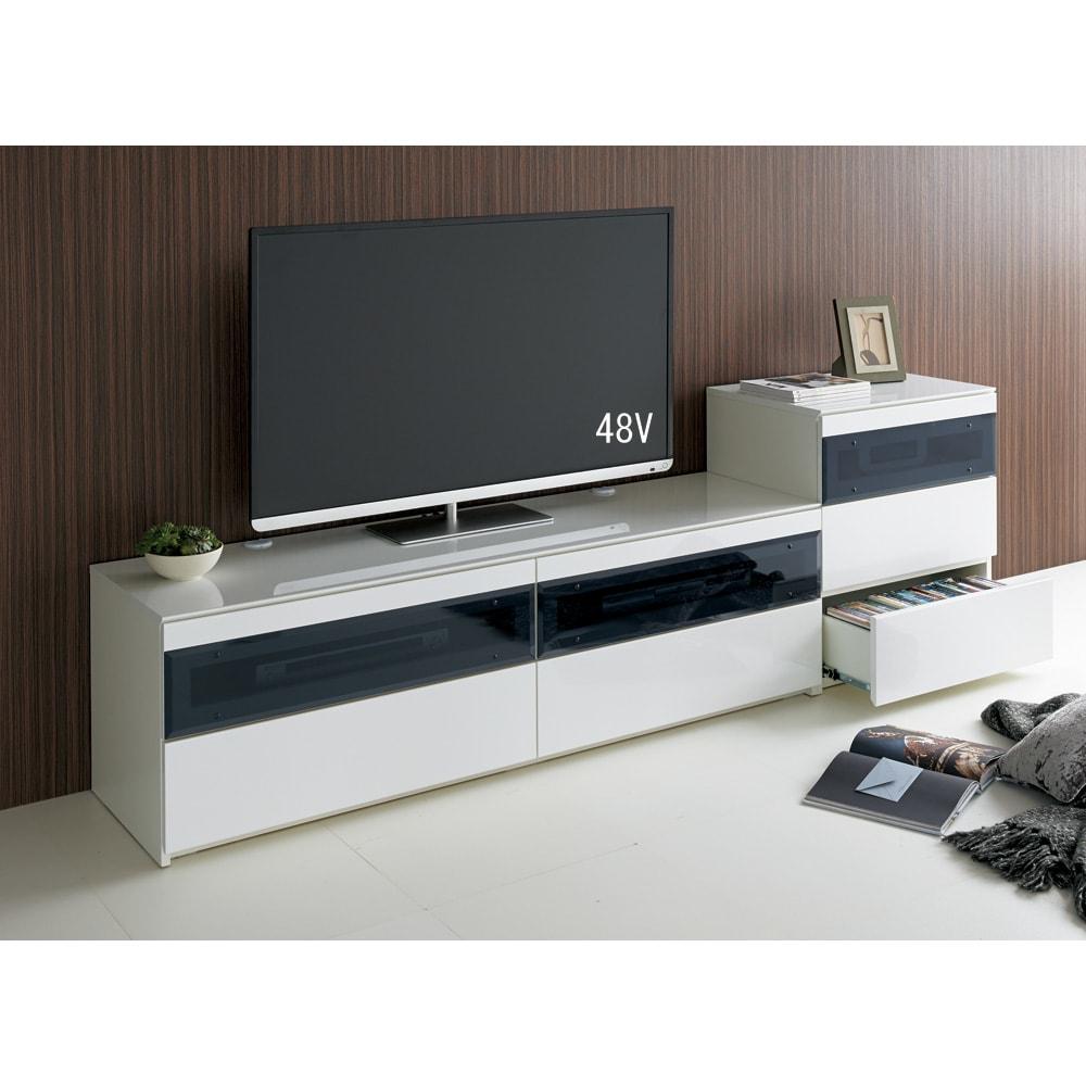 パモウナBW-200 輝く光沢のモダンリビングシリーズ テレビ台 幅200cm (ア)ホワイト ※写真は(左)テレビ台・幅160cmタイプ、(右)キャビネットです。