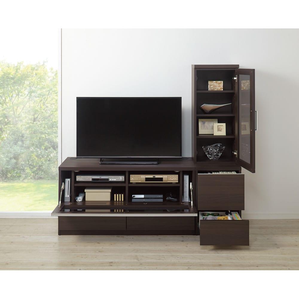ソファや椅子からも見やすい高さ60cmの テレビ台 幅120cm (イ)ダークブラウン ※写真は(左)テレビ台幅120、(右)キャビネット幅40です。