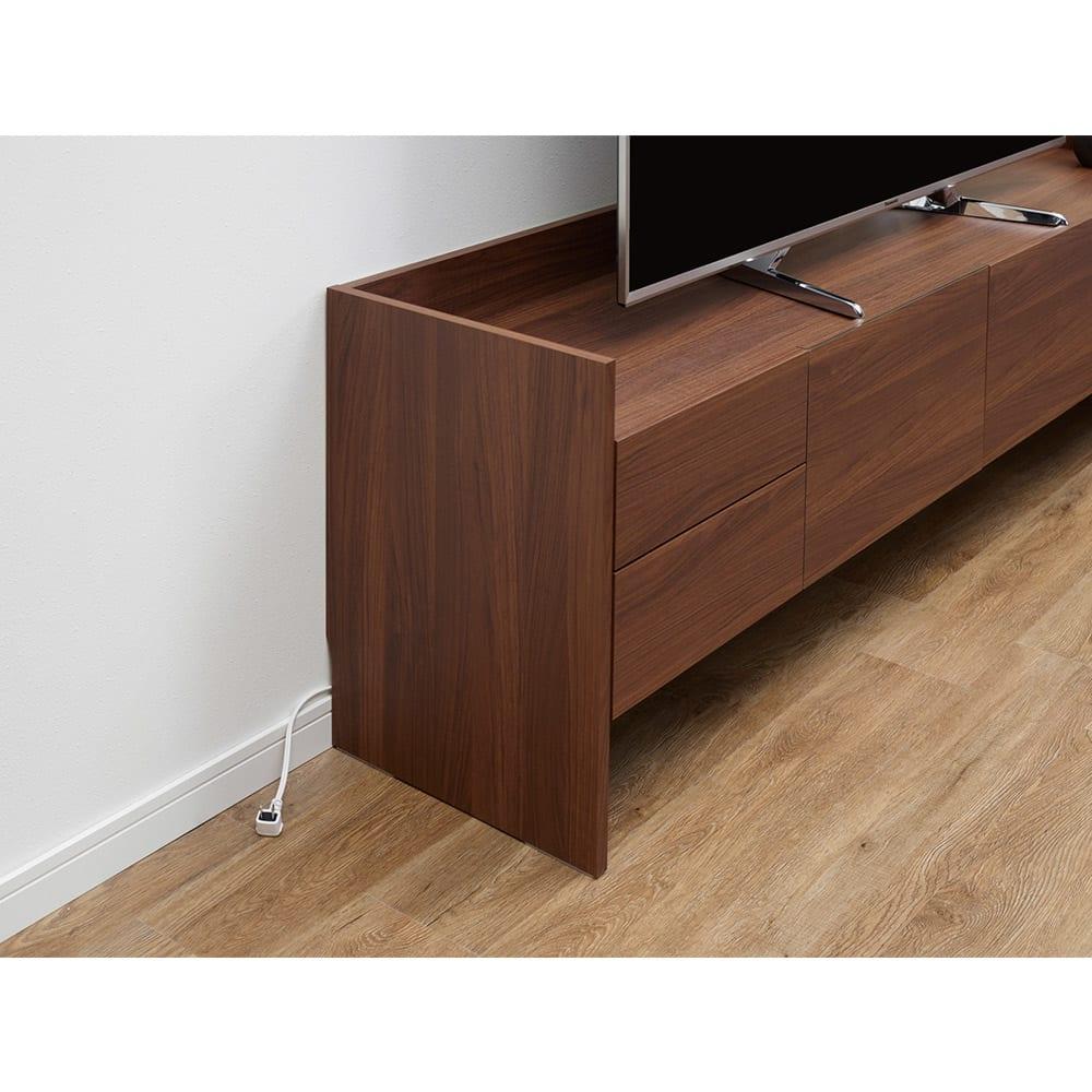 グレイッシュモダンリビングシリーズ マルチデスク 幅90cm 【巾木カット仕様】壁の巾木や配線をよけ、家具を壁にぴったり設置できます。