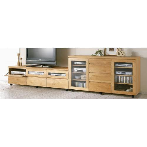 アルダー天然木ユニットボード キャスター付きテレビ台 幅159cm (ア)色見本…組み合わせ例:お届けはローボードのみです。他は別売りになります。