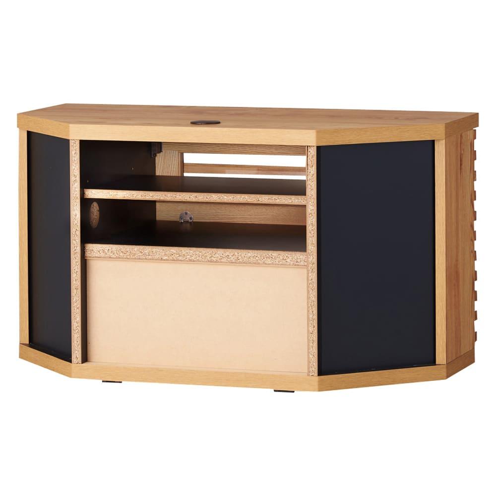 隠しキャスター付き天然木格子コーナーテレビ台幅90cm(隠しキャスター付き) 背面