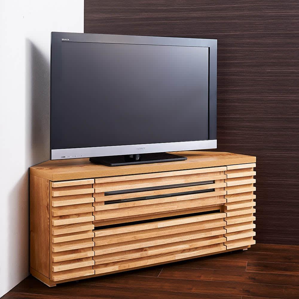 隠しキャスター付き天然木格子コーナーテレビ台幅120cm(隠しキャスター付き) (イ)ライトブラウン