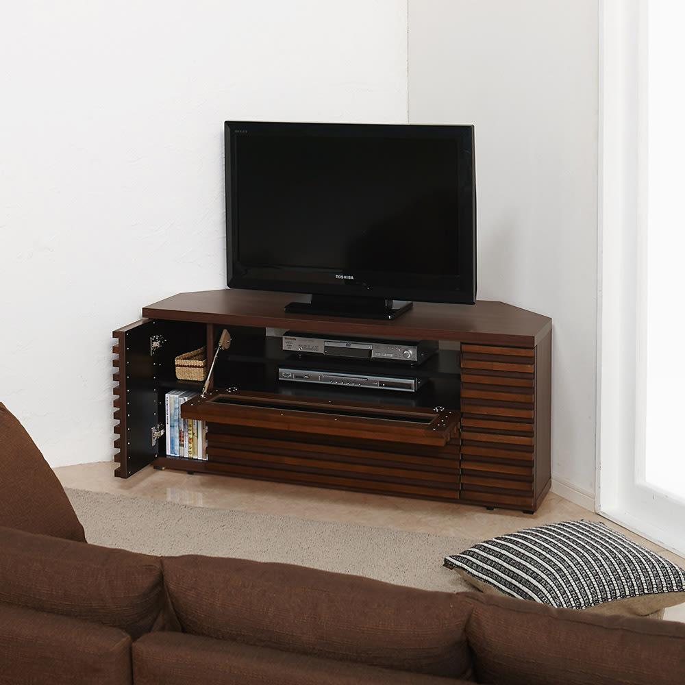 隠しキャスター付き天然木格子コーナーテレビ台幅120cm(隠しキャスター付き) (ア)ダークブラウン