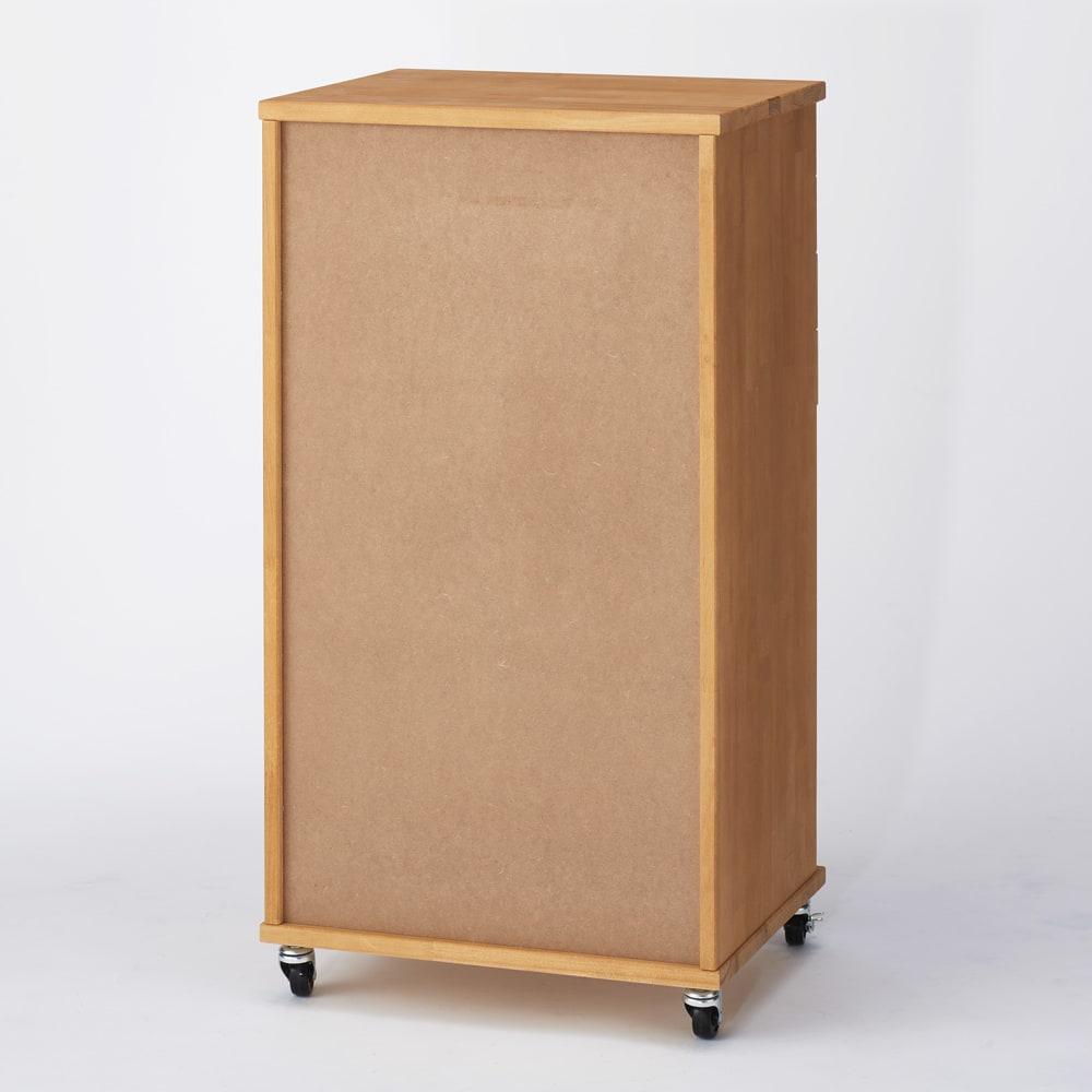 天然木多段チェスト 浅4段 深3段・幅45cm (ア)ナチュラル 背面はタッカーのないすっきりとした仕上げ。