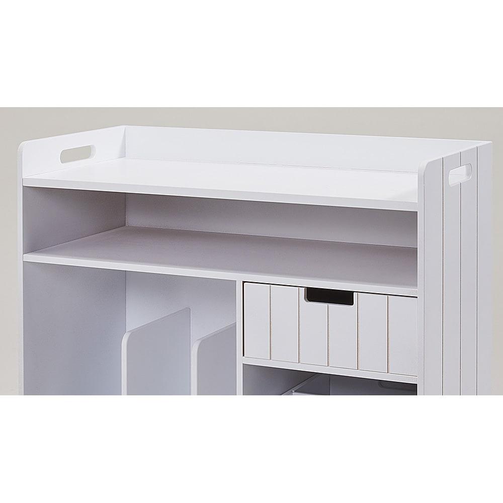 隠せるリビング整理ワゴン 収納タイプ 幅60cm オープン収納部にはノートパソコンなどを収納できます。