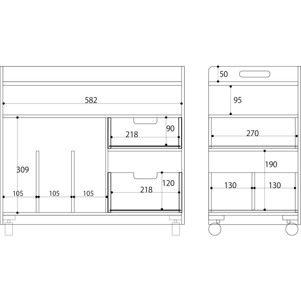 隠せるリビング整理ワゴン 収納タイプ 幅60cm