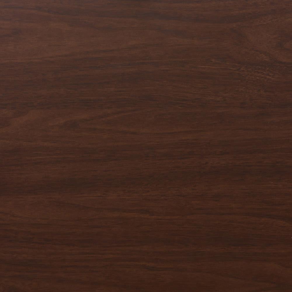 テレビ上の空間を有効活用できる突っ張り式スペースラックコーナー用 幅90cm・2段 (ウ)ダークブラウン板色見本。木目があります。