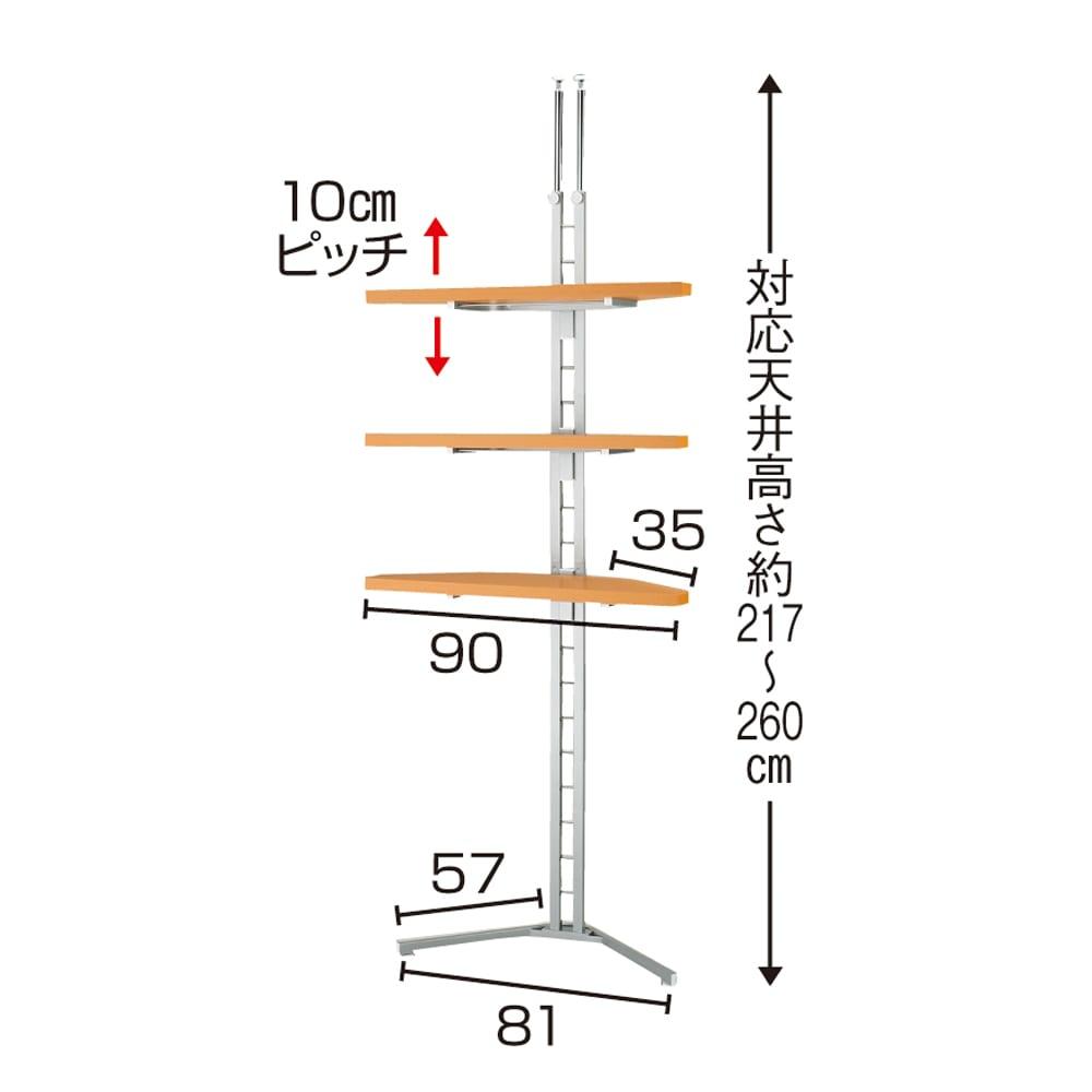 テレビ上の空間を有効活用できる突っ張り式スペースラックコーナー用 幅90cm・2段 (ア)ナチュラル色見本 写真は3段タイプです。
