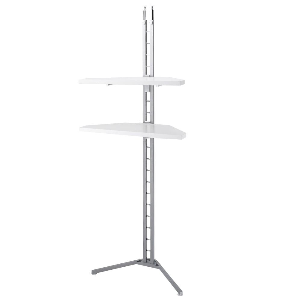 テレビ上の空間を有効活用できる突っ張り式スペースラック コーナーシェルフ 幅90cm・3段 (イ)ホワイト色見本 写真は2段タイプ。