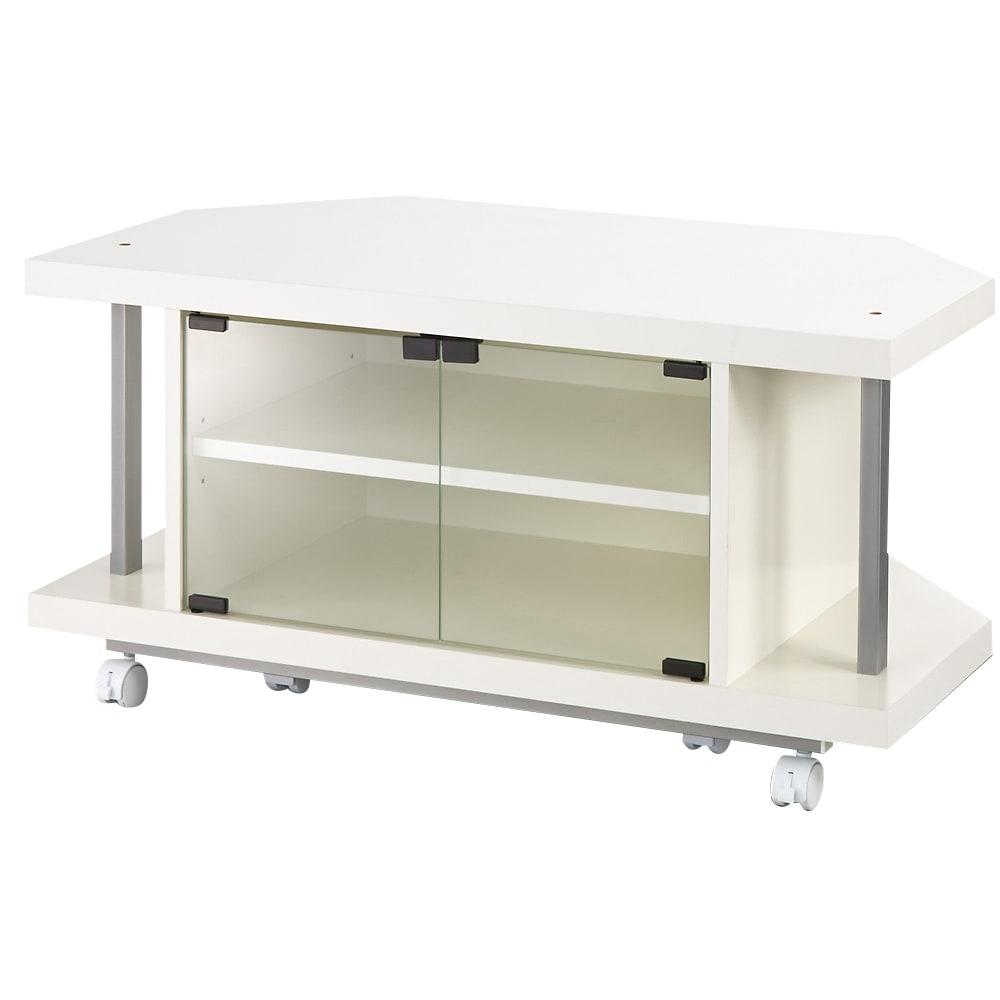 テレビ上の空間を有効活用できるシリーズ コーナー用テレビ台 幅90cm (イ)ホワイト