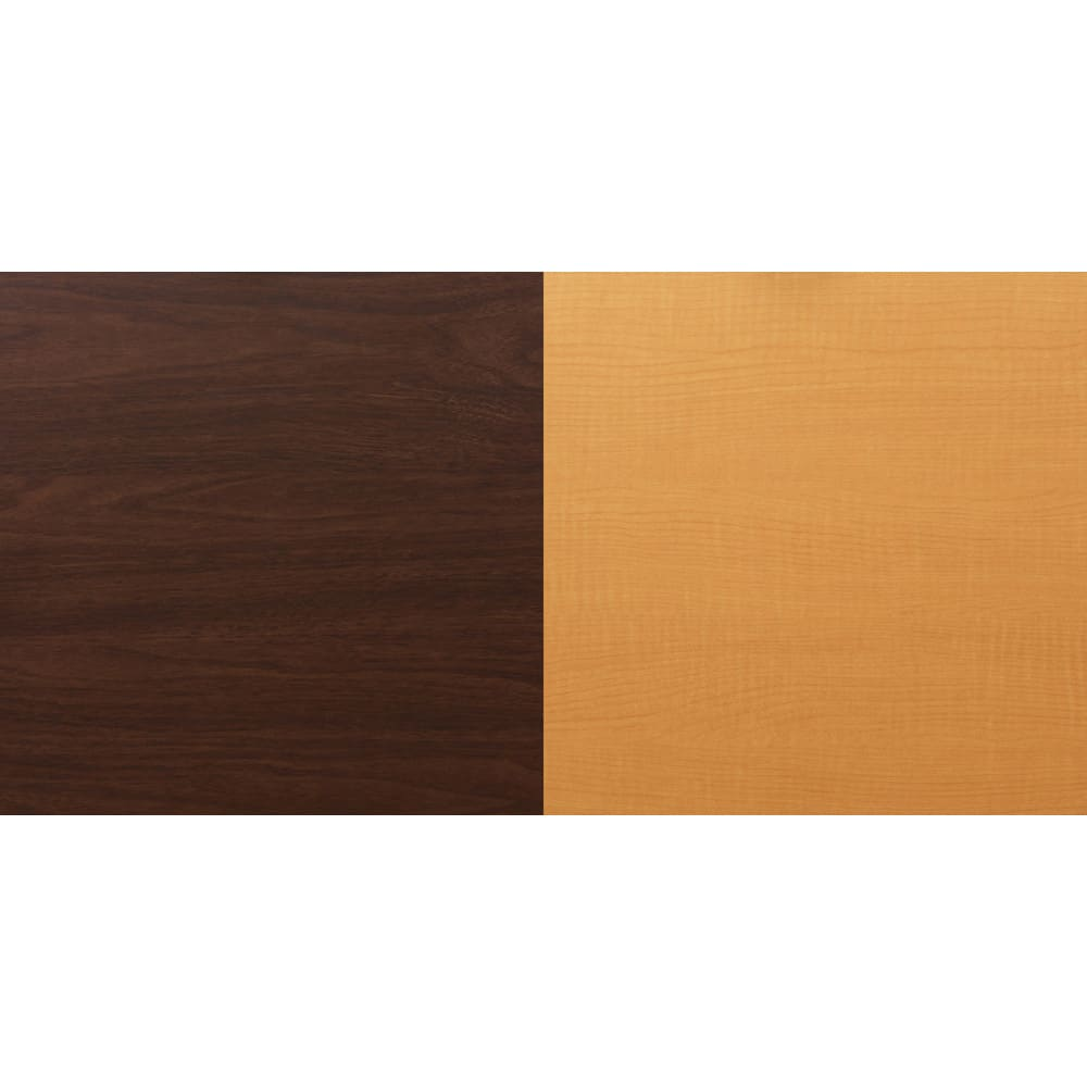 テレビ上の空間を有効活用できるシリーズ コーナー用テレビ台 幅90cm 色板見本。(左)ダークブラウン、(右)ナチュラル。木目があります。