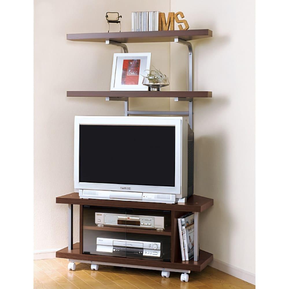 テレビ上の空間を有効活用できるシリーズ コーナー用テレビ台 幅90cm・棚1段 (ウ)ダークブラウンの色見本…ブラウン管テレビにも対応。写真は棚2段タイプです。