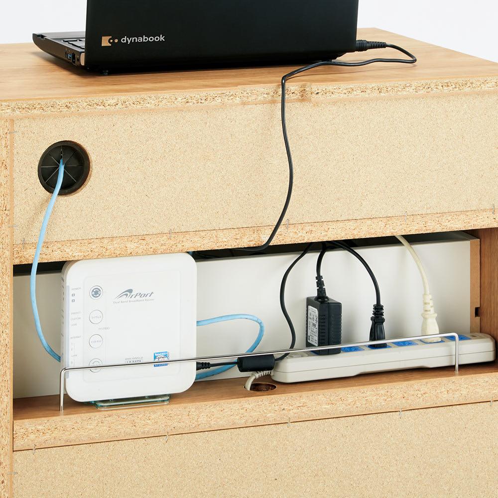テレワークにも最適 北欧スタイルリビング収納シリーズ PCキャビネット幅90cm ルーターや電源タップは背面に収納。上下段の家電と内部配線できます。