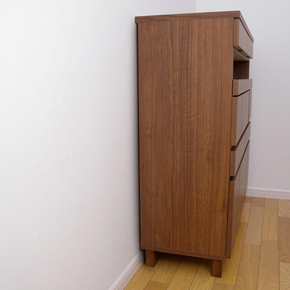 プリンターも置けるオールインワン収納引き出しFAX台 幅45cm 背面が配線対応されているので壁に近づけて設置できます。