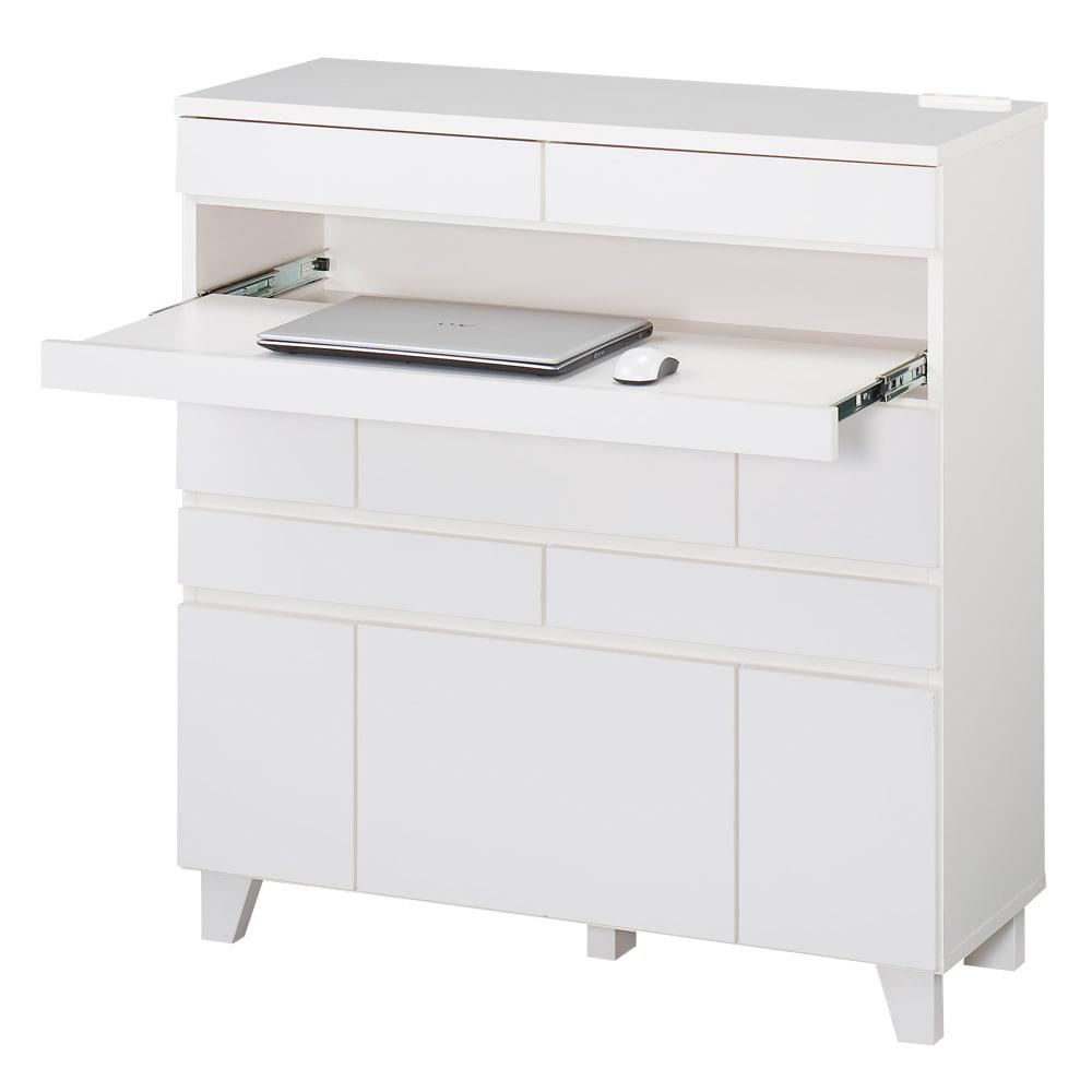 インクジェットプリンターが置ける オールインワン収納引き出しFAX台 幅89cm (イ)ホワイト スライドテーブルではノートパソコンが使用できます。