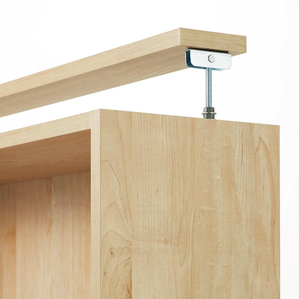 ホームライブラリーシリーズ キャビネット 幅60cm 突っ張りタイプ 面で天井と突っ張るので、安定して設置できます。