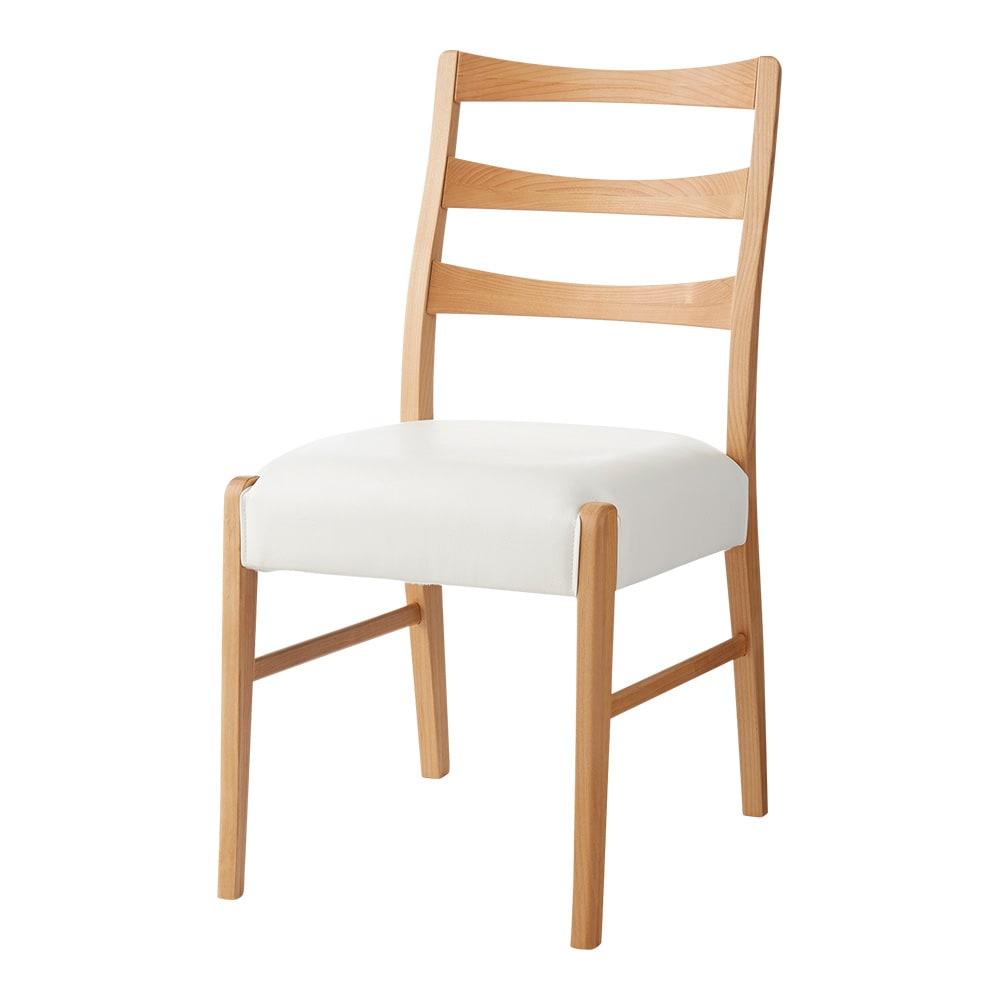 洗えるカバー付き天然木チェア 【カバーを外した状態】座面はお手入れ簡単な素材で、カバーを外しても使えます。