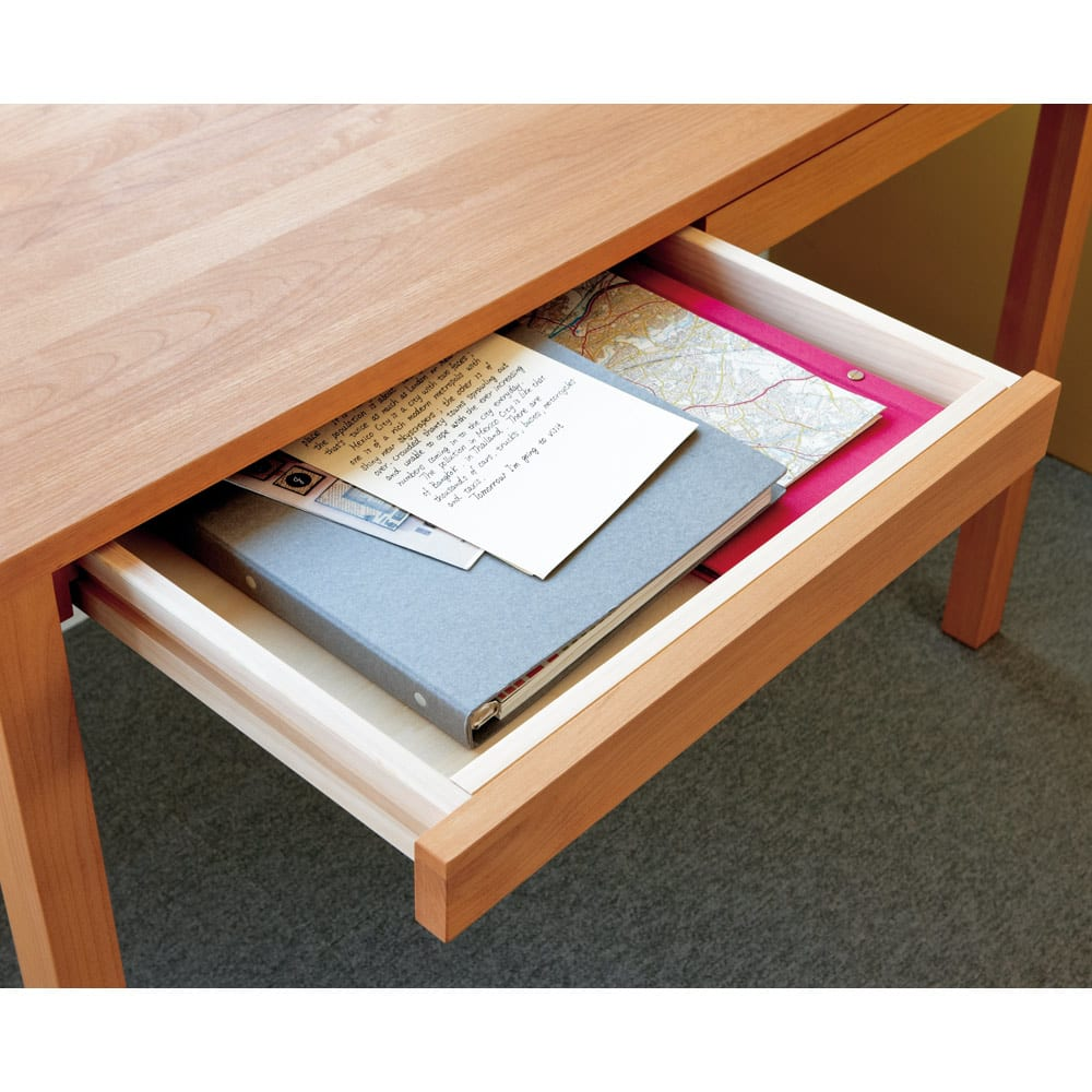 ミニマムデスク TSUKUE(ツクエ)デスク 幅90奥行45cm 引き出し側板は檜材を採用。