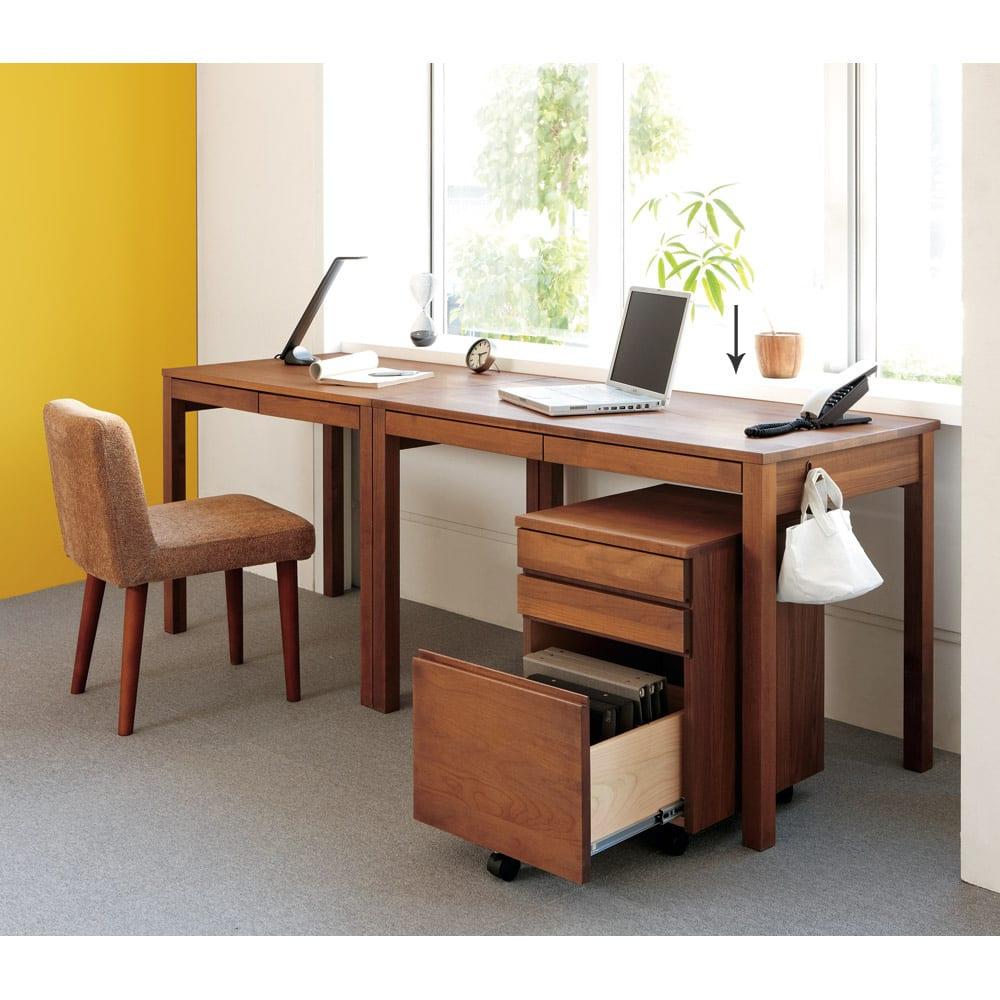 ミニマムデスク TSUKUE(ツクエ)デスク 幅110奥行60cm (ア)ダークブラウン 写真はデスク幅90奥行60cm、袖机の組み合わせ例です。 ※袖机は別売りです。