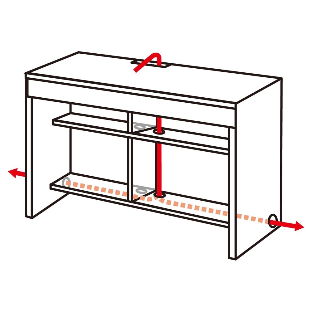 幅サイズオーダー ジャストフィットするデスク 幅60~180cm・奥行55cm(幅1cm単位オーダー) コード類は収納スペースに隠して配線できる構造。