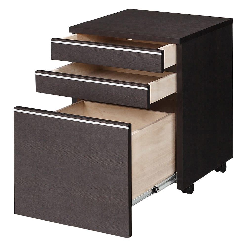 家具 収納 ホームオフィス家具 サイドチェスト プリンター台 タモ天然木アルミラインシリーズ サイドチェストワゴン 553025