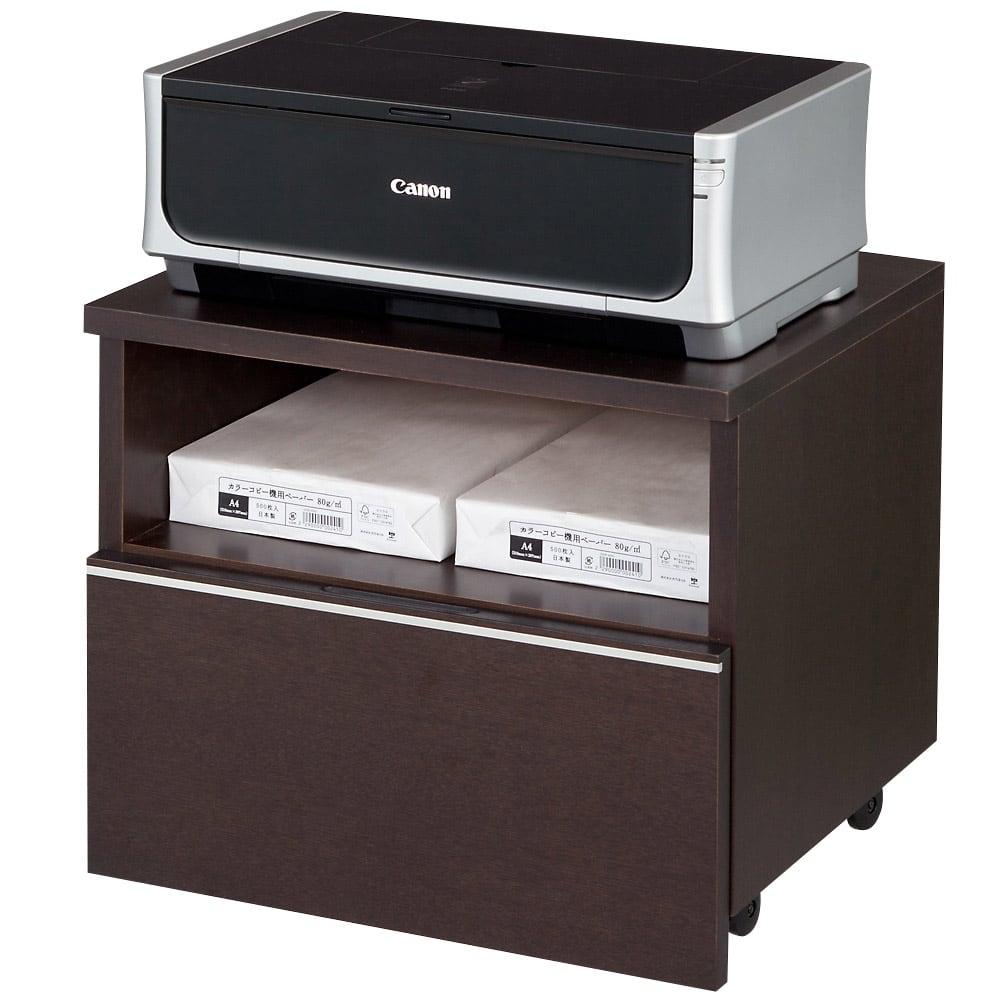 家具 収納 ホームオフィス家具 サイドチェスト プリンター台 タモ天然木アルミラインシリーズ プリンターワゴン 553026