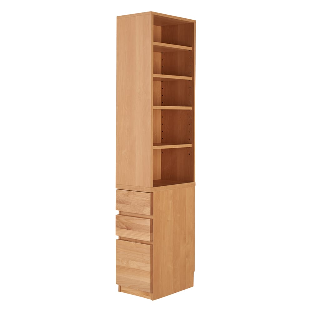 家具 収納 ホームオフィス家具 サイドチェスト プリンター台 アルダー天然木 アールデザインデスクシリーズ デスクサイドラック 553105