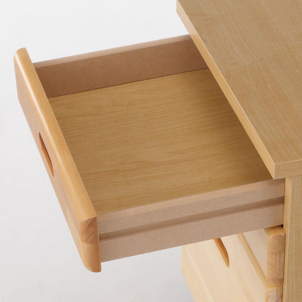 パイン天然木 薄型シンプルデスクシリーズ チェストワゴン 便利な引出仕様 ※引き出しにストッパーは付いておりません。