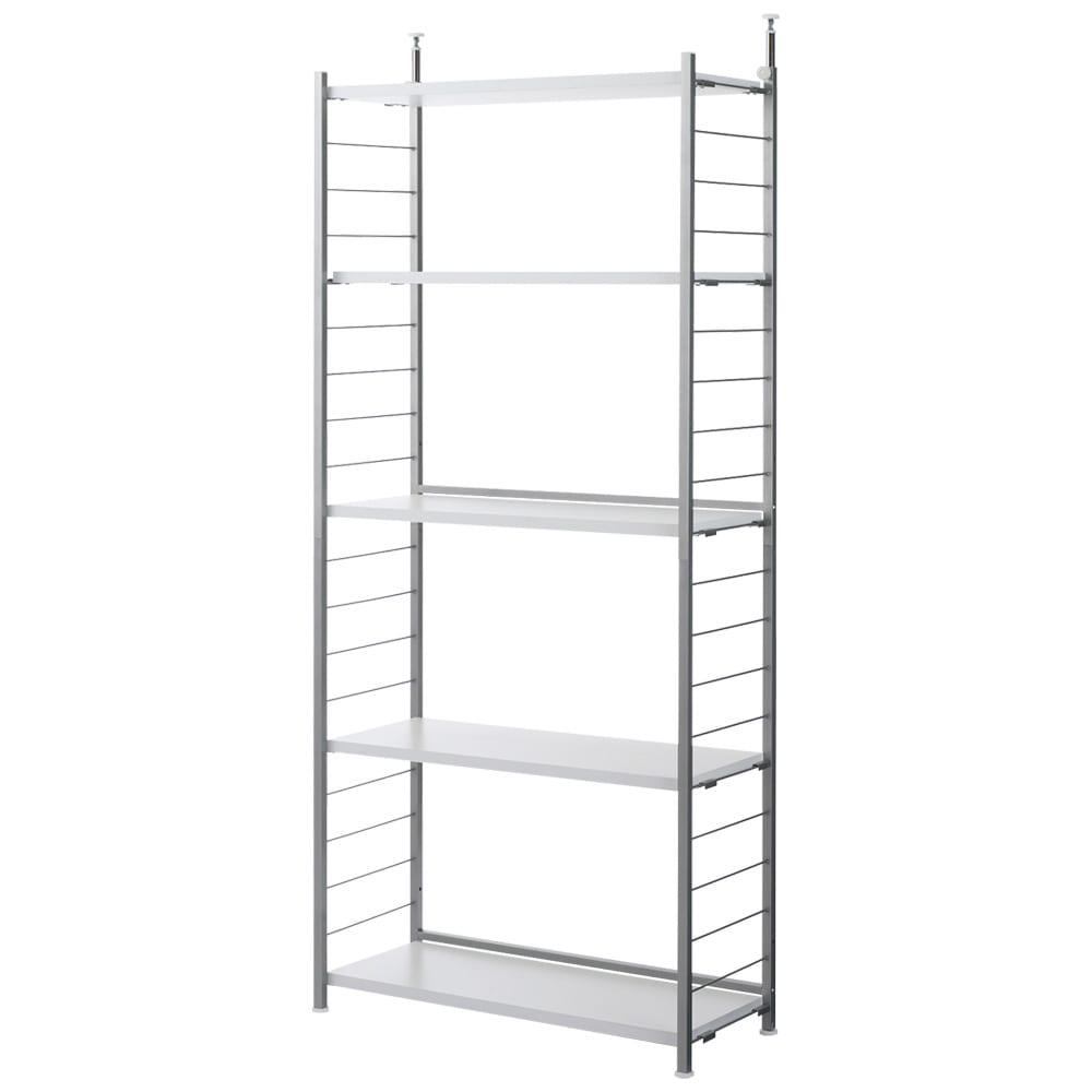 突っ張り式高さ調節シリーズ シェルフラック 幅90奥行40cm (ア)ホワイト 棚板は全て可動式で、収納物の高さに合わせて調節できます。(10cmピッチ)