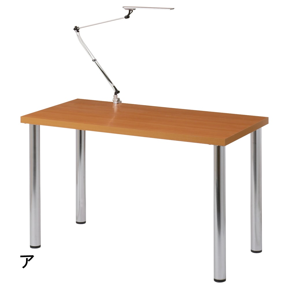 シンプルワークデスク 幅120奥行60cm (ア)ナチュラル デスク裏面には、照明(ライト)クランプ取り付け可能です。