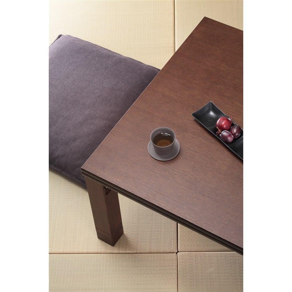 【正方形】80×80cm 4段階高さ調整平面パネルヒーター付きこたつ ダークブラウン色見本