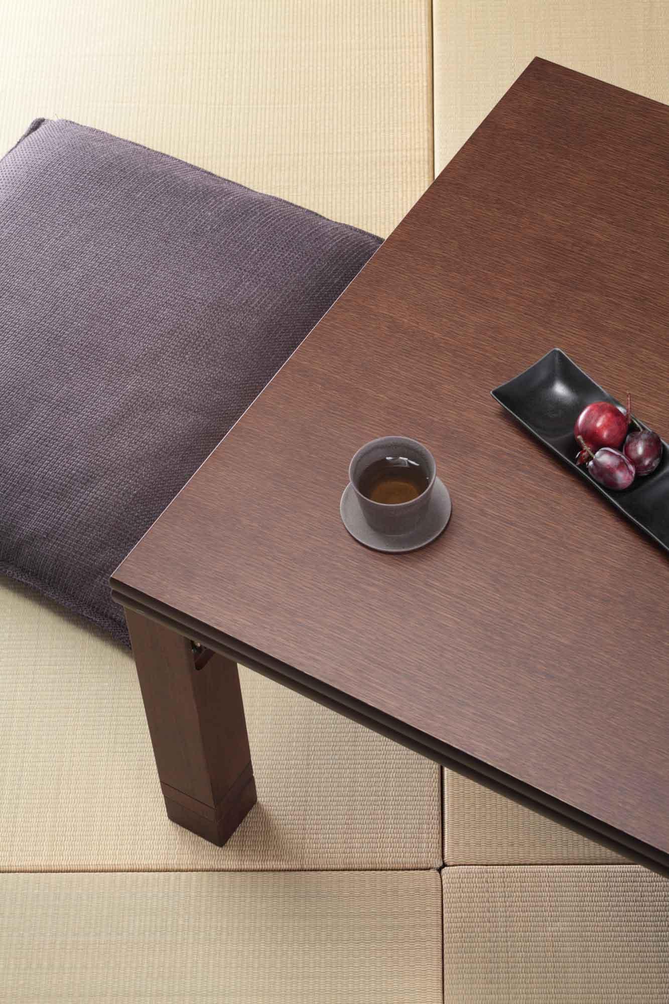 【長方形】120×80cm 4段階高さ調整平面パネルヒーター付きこたつ ダークブラウン色見本