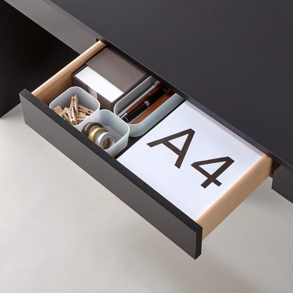 引き出し付き 光沢仕上げアーバンデスクシリーズ デスク 幅120cm 引き出し収納イメージ…A3サイズも収納可能です。