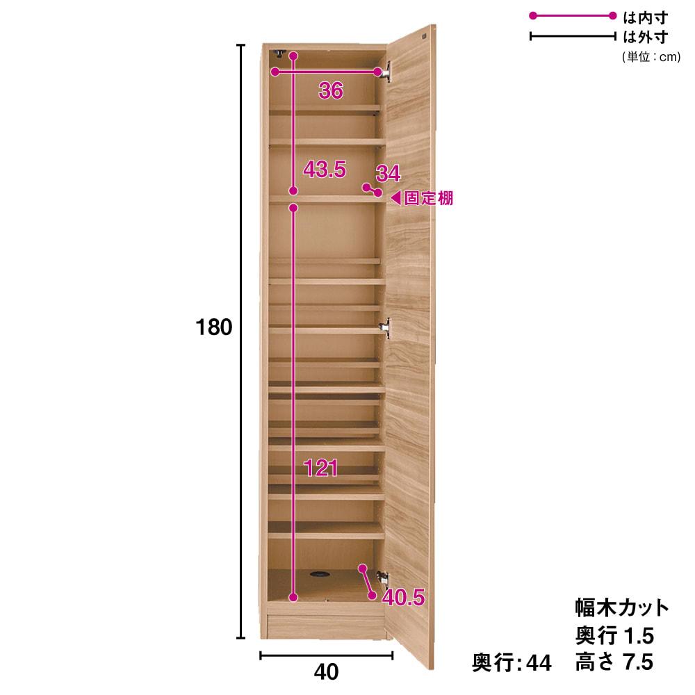 奥行44cm 生活感を隠すリビング壁面収納シリーズ 収納庫 段違い棚タイプ 幅40cm