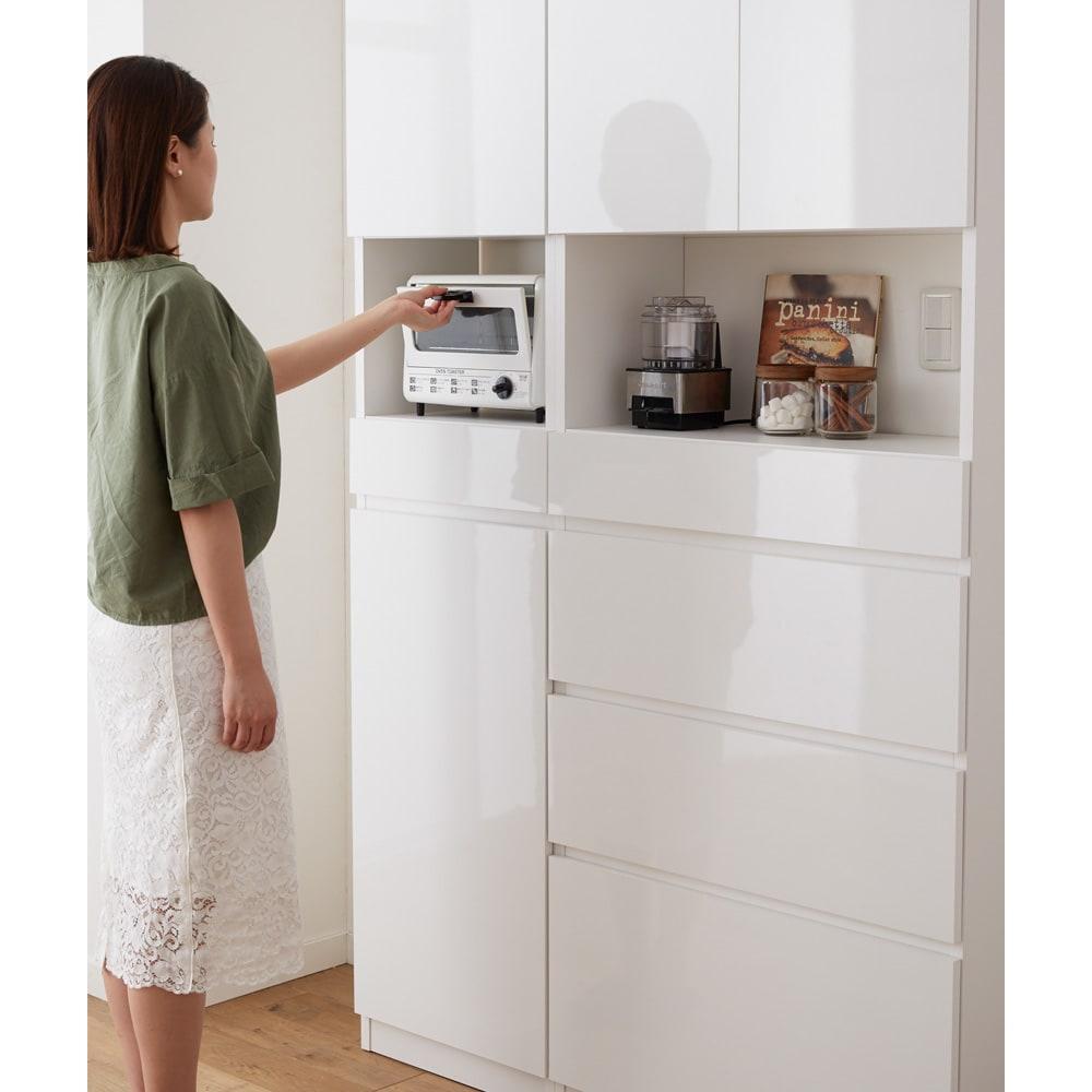 スイッチ避け壁面収納シリーズ スイッチよけタイプ(上台扉付き・下台引き出し)幅45cm奥行30cm キッチン家電を収納して、キッチンボードとしての使用もおすすめ。オープン部内寸:幅41奥行24高さ29cm