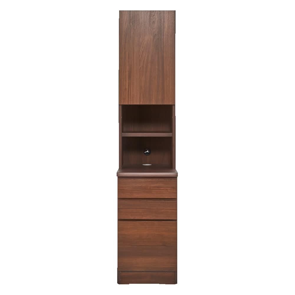 書斎壁面収納シリーズ 収納庫 オープン引き出しタイプ 幅39.5cm (ウ)ダークブラウン