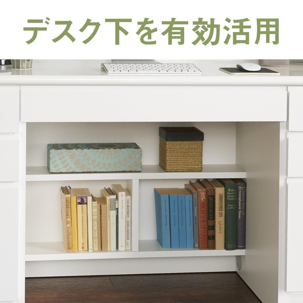 書斎壁面収納シリーズ デスク 両引き出し デスク下に書類や小物が整理できる便利な棚。