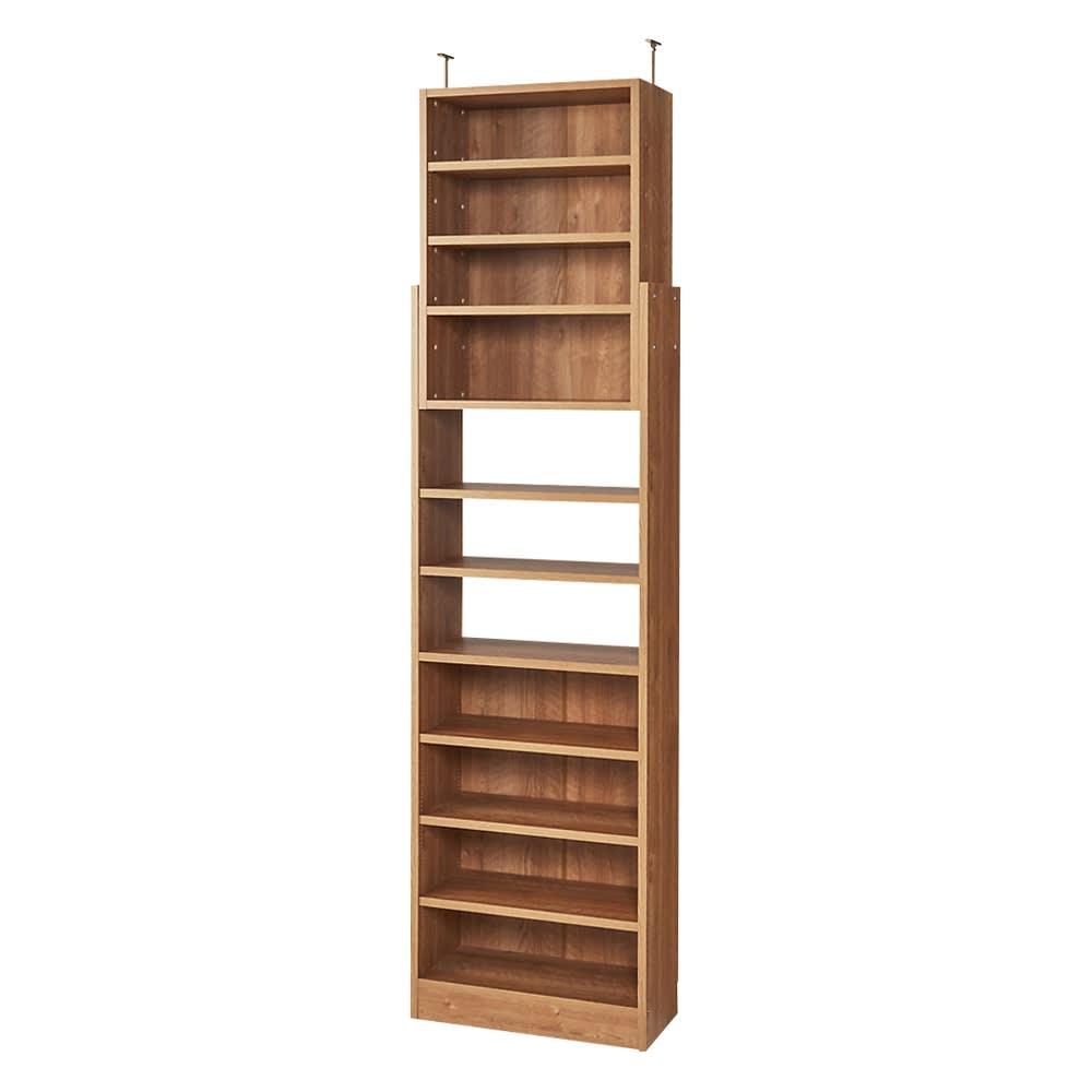 1台で壁いっぱいに本を収納!本好きのための壁面つっぱり本棚 本体幅60奥行29.5cm (ア)ブラウン(木目調)