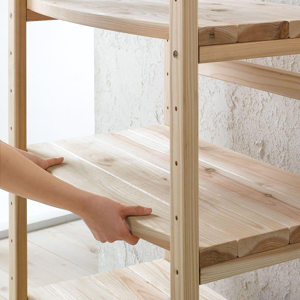 国産杉 頑丈オープンラック 奥行45.5cm 幅59cm 高さ143cm 棚板は収納物に合わせて、9cmピッチで調節可能