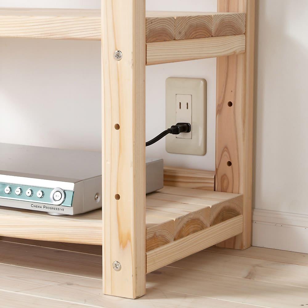 国産杉 頑丈オープンラック 奥行45.5cm 幅59cm 高さ143cm 背板がないのでコンセントやスイッチが使えます。