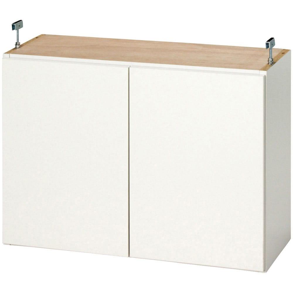 効率収納できる段違い棚シェルフ [突っ張り上置き 板扉タイプ 開き戸 幅90cm] 上置き高さ54.5cm 突っ張り金具を前方(壁から約18cm)に取り付けた場合