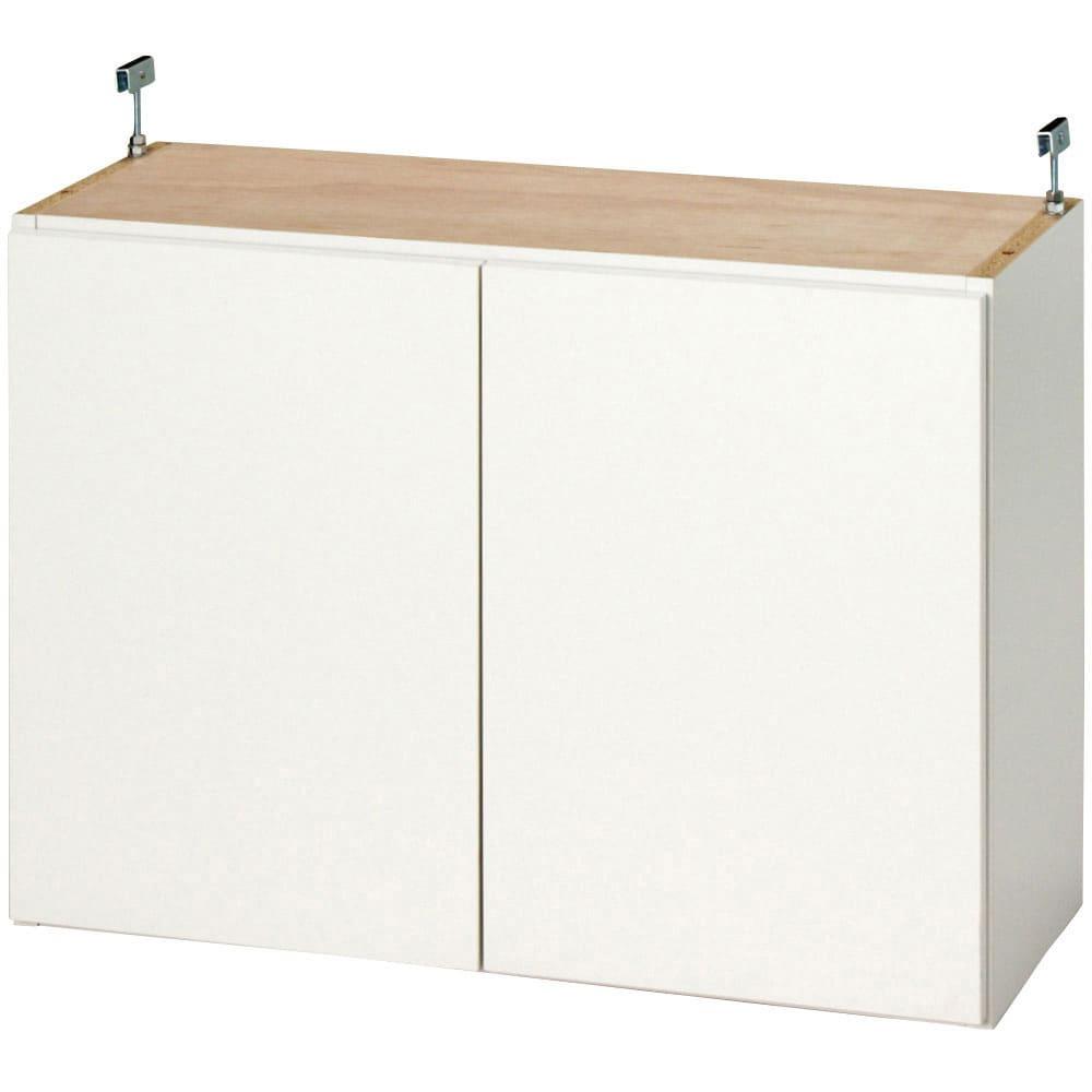 効率収納できる段違い棚シェルフ [突っ張り上置き 板扉タイプ 開き戸 幅90cm] 上置き高さ54.5cm 突っ張り金具を後方(壁から約3cm)に取り付けた場合