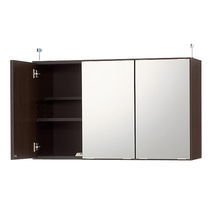 効率収納できる段違い棚シェルフ [突っ張り上置き ミラー扉タイプ 開き戸 幅90cm] 上置き高さ54.5cm (イ)ダークブラウン