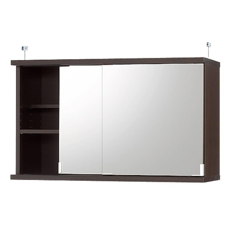 効率収納できる段違い棚シェルフ [突っ張り上置き ミラー扉タイプ 引き戸 幅90cm] 上置き高さ54.5cm (イ)ダークブラウン
