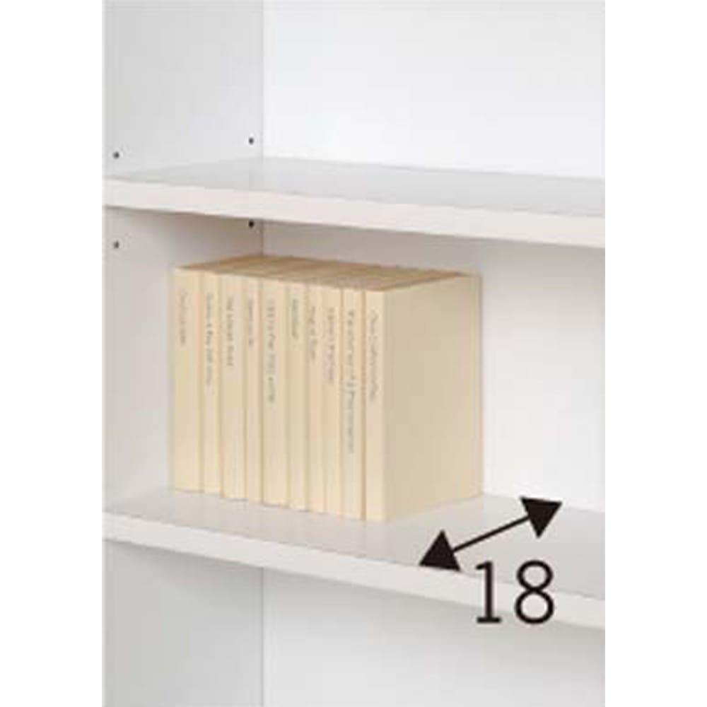 天井突っ張り式壁面ラック オープンタイプ上置き付き 幅60奥行20本体高さ235cm 内寸奥行は18cm。棚板は3cmピッチで可動できます。