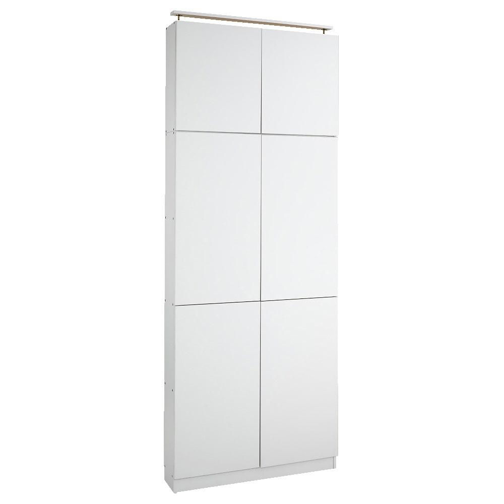 天井突っ張り式壁面ラック 扉タイプ上置き付き 幅90奥行22本体高さ235cm (ア)ホワイト ごちゃごちゃしていてもすっきりと隠せる扉タイプ。