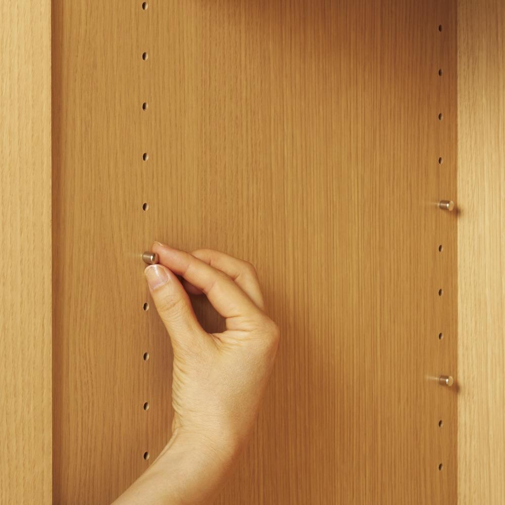 【高さサイズオーダー】 プッシュ扉リビングキャビネット 扉タイプ 幅116高さ40~120奥行45cm 棚板は3cm間隔で調節。ダボは金属製。