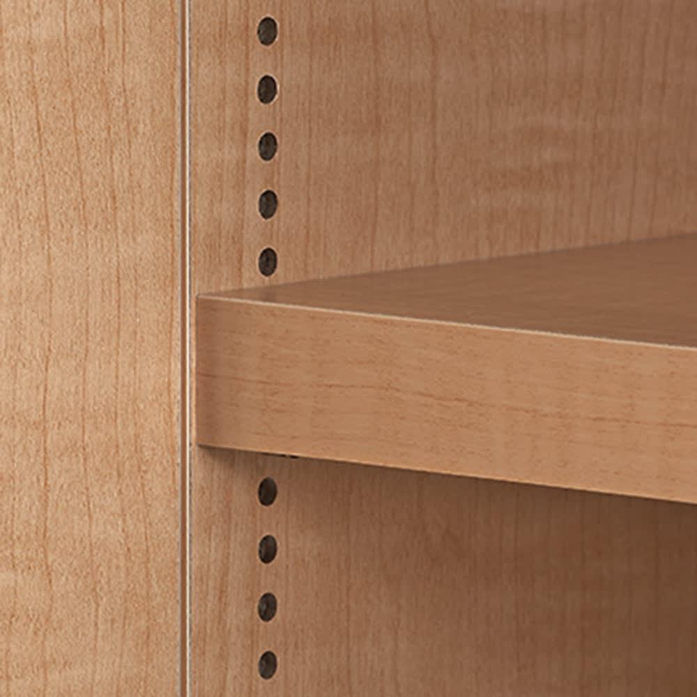 日用品もしまえる頑丈段違い書棚 ヴィンテージ木目調タイプ 書棚 幅80cm 棚板は1cm間隔の可動式。