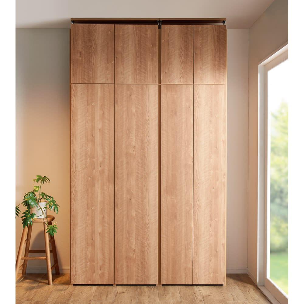 日用品もしまえる頑丈段違い書棚 ヴィンテージ木目調タイプ 上置き 幅40cm 使用イメージ ※写真の天井高さ240cm